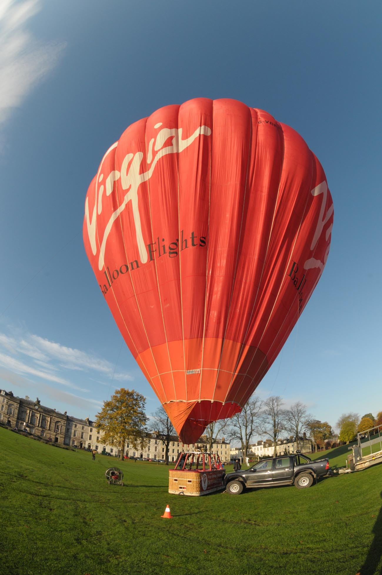 Virgin hot air Balloon ready to launch from Perth