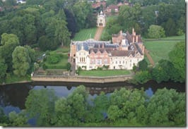 A birds eye view of Bishopthorpe Palace from the balloon