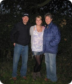 Catherine with her mum Ann and dad Chris after their balloon flight