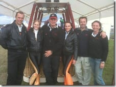 Virgin pilot Spencer (middle) and crew with Breitling Wing Walking girls and Pilot Dangerous Dave