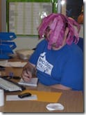 Ryan trying to work with his handmade pink wig!