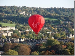 One of our Virgin hot air balloons over Bath
