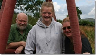 Shropshire balloon pilot Chloe Hallett with father Graham Hallett and mother Lindsay Muir