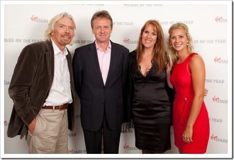 Balloon pilot Mark Shemilt and wife Cristie with Richard Branson and Holly Branson at Stars of the Year at Kensington Roof Gardens by Tom Oldham 20/9/11Stars of the Year at Kensington Roof Gardens by Tom Oldham 20/9/11