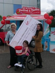 Virgin balloons cheque for hope house