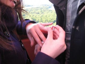 A sparkling view from the basket above Hampshire as Lee and Carly get engaged