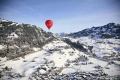 Balloon flying over the snow