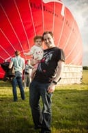 Tom and Holly in front of balloon