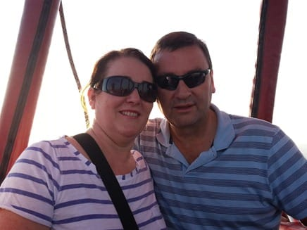 Chris and Liz in the hot air balloon over Henley on Thames