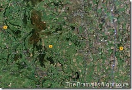 The Bramall's flight route (no's show images taken)