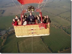 In-flight photograph of Russell and the passengers lucky enough to see the village of Middle Ditchford