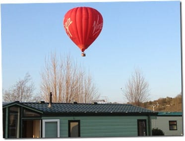 virgin balloon over holiday home