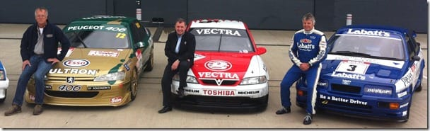 British Super Touring car legends Patrick Watts, John Cleland and Tim Harvey at Silverstone Classic
