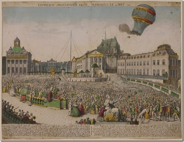 Picture of the first unmanned hot air balloon flight