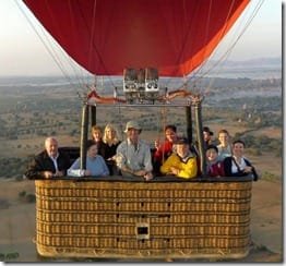Pilot Mark with a basket full of happy passengers