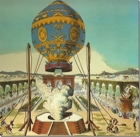 Drawing of the first manned hot air balloon flight