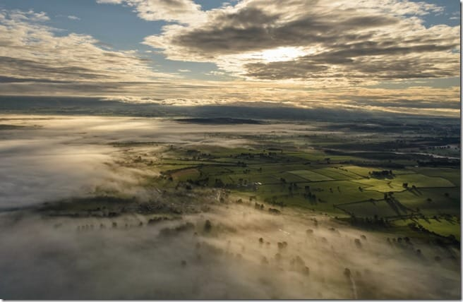 Picture of hot air balloon flight over the lake district