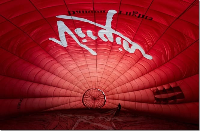 Hot air balloon being inflated - picture taken inside hot air balloon