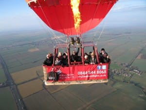 Hot air balloon passengers on flight