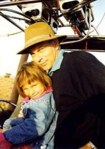 Young Milli and her dad Ken ballooning in the Masai Mara.