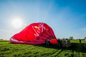Our newest hot air balloon gets ready for launch from Battlefield in Shrewsbury. Photo credit Shropshire Star -please do not reproduce without permission.
