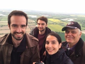A hot air balloon family selfie in the skies.