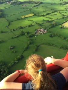 looking at the view from a hot air balloon