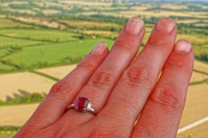 engagement ring on hot air balloon