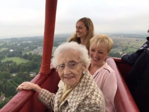 100th birthday celebrations on hot air balloon