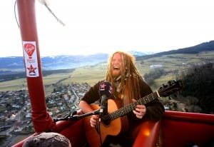 Gigging in the skies over the Swiss Alps.