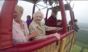 Smiles in the sky for 100 year old hot air balloon passenger