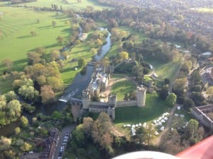 Warwick Castle from a hot air balloon.