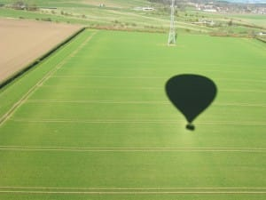 Hot air balloon ride shadow
