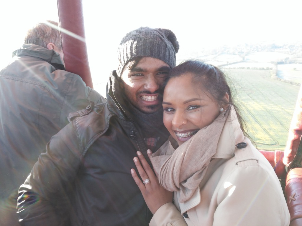 The happy couple after their hot air balloon proposal