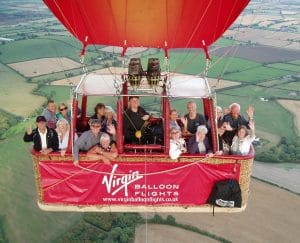 Nick and Christine (top right) loved their balloon ride.