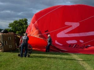 Nick helps inflate our hot air balloon.