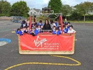 Newton primary school in Dunblane hot air balloon