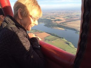 lady on hot air balloon ride