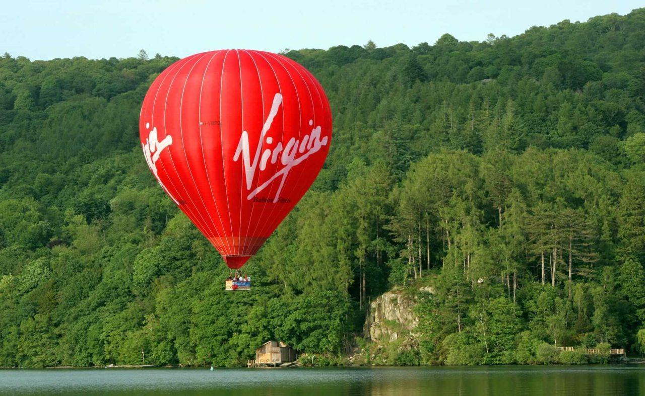 Virgin Balloon over a lake