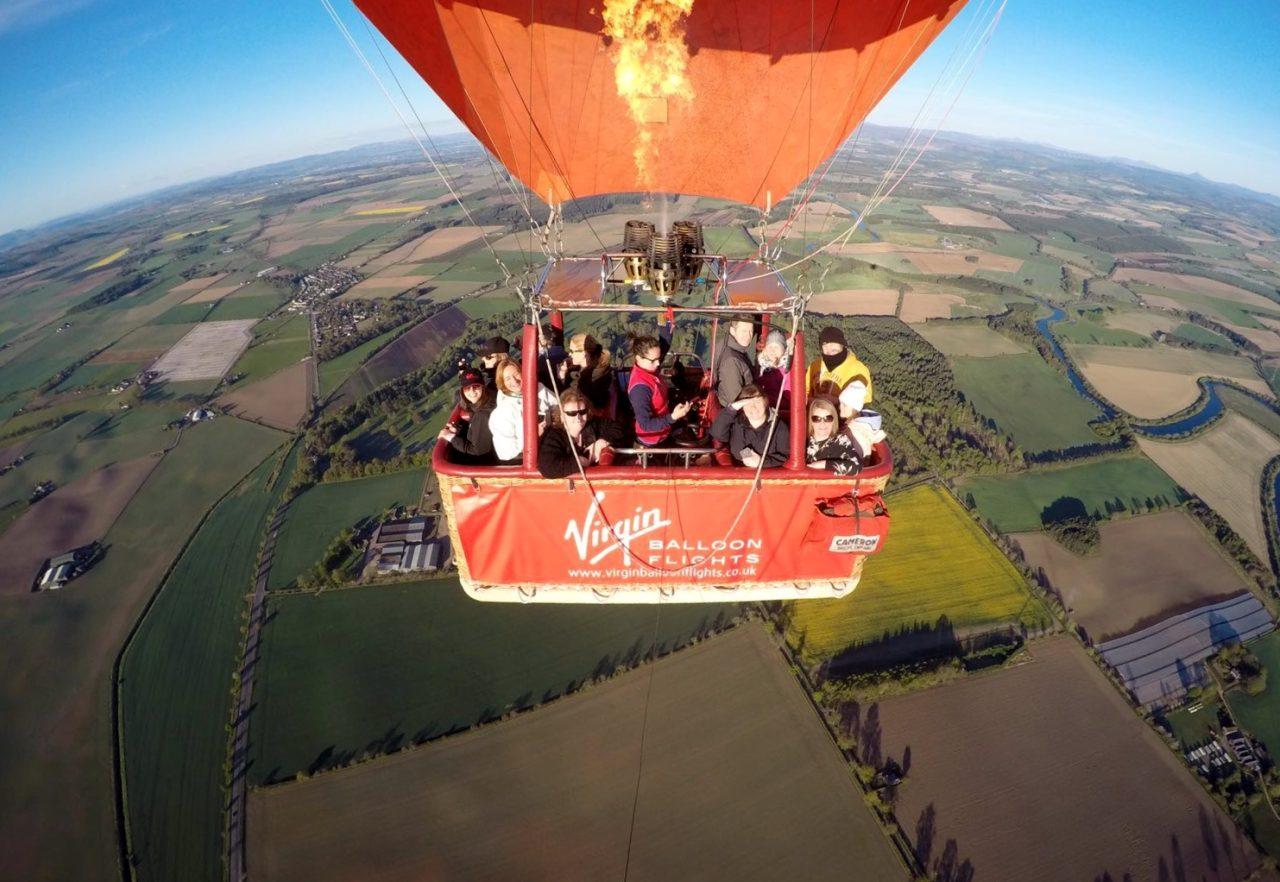 Virgin hot air balloon outside