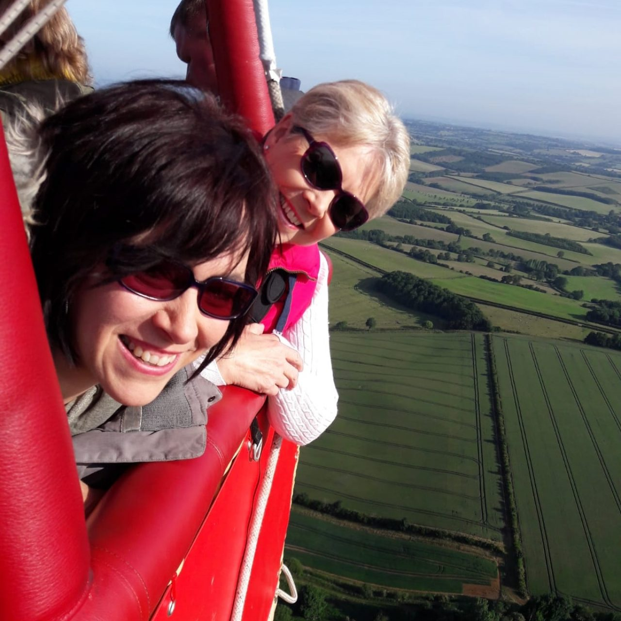 People loving their hot air balloon ride